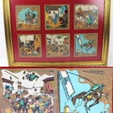 Varios objetos de Arte: CUADRO CON 6 ESCENAS DEL QUIJOTE DE EMILIO FERRER SERIGRAFIADAS / SERIGRAFÍAS EN CORCHO ENMARCADAS. Lote 174323239