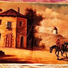 Varios objetos de Arte: ÓLEO SOBRE LIENZO ANTIGUO SIN BASTIDOR DON QUIJOTE Y SANCHO PANZA CAMINO A LA VENTA ÚNICO FIRMADO. Lote 174346305