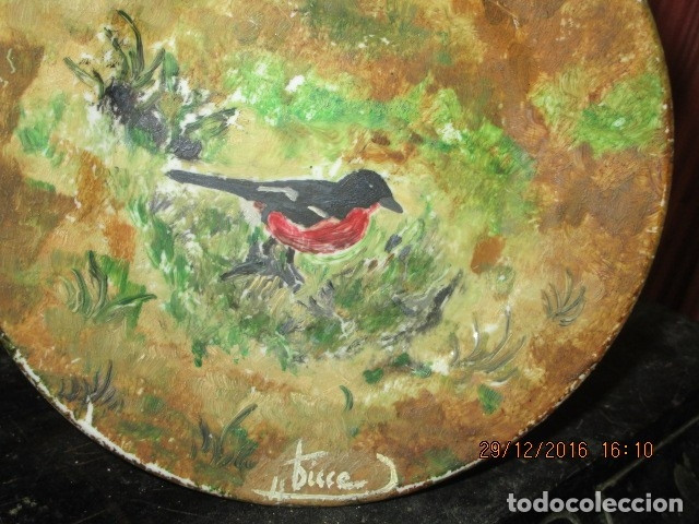 Varios objetos de Arte: pintura antigua oleo en plato de ceramica firma pisso o similar - Foto 3 - 174380612
