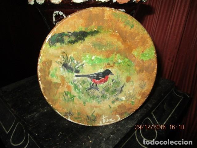 Varios objetos de Arte: pintura antigua oleo en plato de ceramica firma pisso o similar - Foto 10 - 174380612
