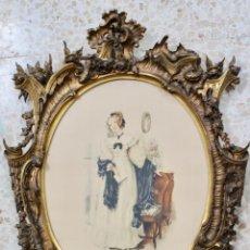 Varios objetos de Arte: ESPECTACULAR MARCO DE MADERA DORADA- MUY BUEN ESTADO -S XIX -CON DIBUJO. Lote 174389249