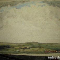 Varios objetos de Arte: PUEBLO EN LA LLANURA VERDE ANTIGUA PINTIRA SOBRE CARTON PRINCIPIOS DE SIGLO. Lote 174426772