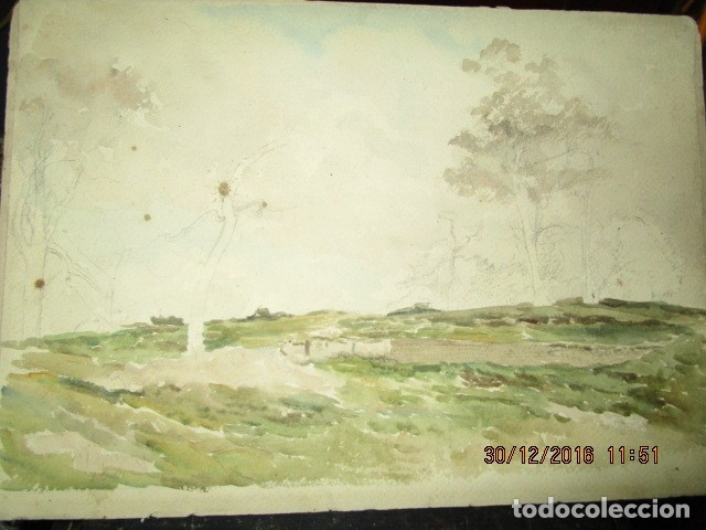 PINTURA IMPRESIONISTA FIRMADA ANTIGUO PRINCIPIOS DE SIGLO BOCETO EN CARTON DURO (Arte - Varios Objetos de Arte)