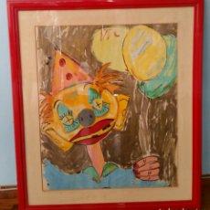Varios objetos de Arte: CUADRO CON CRISTAL PAYASO ACRÍLICO 76X66 CM. Lote 174631984