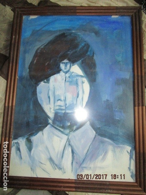 OLEO SOBRE CARTON PINTURA CUBISTA AUTORRETRATO PINTOR (Arte - Varios Objetos de Arte)
