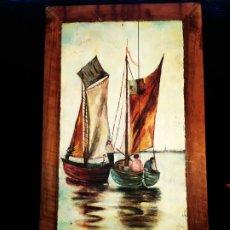 Varios objetos de Arte: PRECIOSA ESCENA BARCAS ÓLEO SOBRE TABLA SIN FIRMA ANTIGUO VINTAGE IDEAL DECORACIÓN BARES COSTA. Lote 175224987