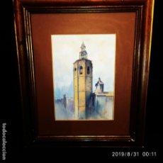 Varios objetos de Arte: DIBUJO ENMARCADO CAMPANARIO CAMPANA ANTIGUO FIRMADO S ÚBEDA 1944 PRECIOSO. Lote 175235608