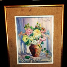 Varios objetos de Arte: ÓLEO SOBRE TABLA ENCARNITA GASCÓ PRECIOSO NATURALEZA MUERTA FLORES. Lote 175237657