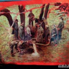 Varios objetos de Arte: DIBUJO ACUARELA SOBRE CARTON PAPEL ESCENA CRIMEN POLICÍAS DESCONOZCO HECHO CARTEL COCA-COLA RARO SIN. Lote 175283454