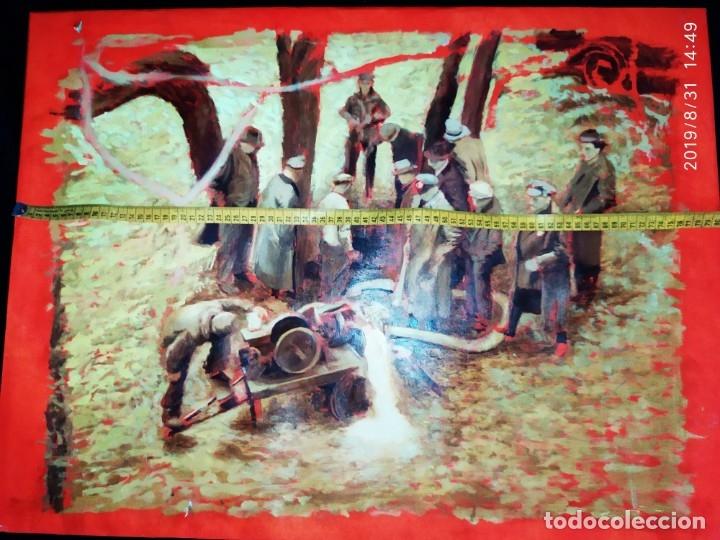 Varios objetos de Arte: DIBUJO ACUARELA SOBRE CARTON PAPEL ESCENA CRIMEN POLICÍAS DESCONOZCO HECHO CARTEL COCA-COLA RARO SIN - Foto 20 - 175283454