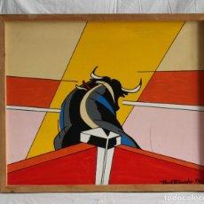 Varios objetos de Arte: CUADRO TAURINO PINTOR PERICO FERNÁNDEZ,1994. CAMPEÓN DE BOXEO. Lote 175591474