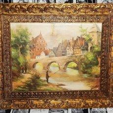 Varios objetos de Arte: CUADRO CON PAISAJE ENMARCADO CON MARCO DORADO MUY TRABAJADO VER FOTOS DESCRIPCION. Lote 175688048