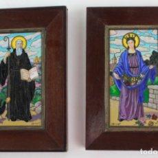 Art: D-53. PAREJA DE ESMALTES AL FUEGO RELIGIOSOS. FIRMADOS J.BRUNET. MEDIADOS S.XX.. Lote 176265720