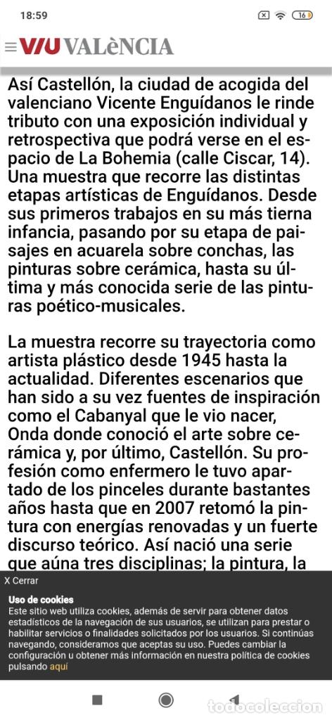 Varios objetos de Arte: RECONOCIDO PINTOR VALENCIANO VICENTE ENGUIDANOS GARRIDO PINTURAS MUSICALES. ÚNICO EN EL MUNDO - Foto 29 - 176374900