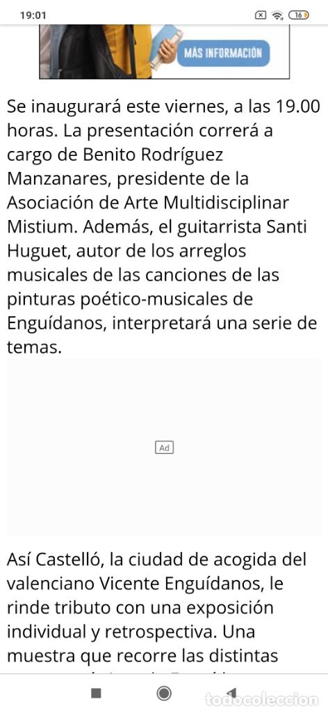 Varios objetos de Arte: RECONOCIDO PINTOR VALENCIANO VICENTE ENGUIDANOS GARRIDO PINTURAS MUSICALES. ÚNICO EN EL MUNDO - Foto 45 - 176374900