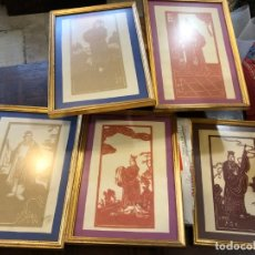 Varios objetos de Arte: 5 ESCENAS CHINAS RECORTADAS SOBRE PAPEL. Lote 176446880