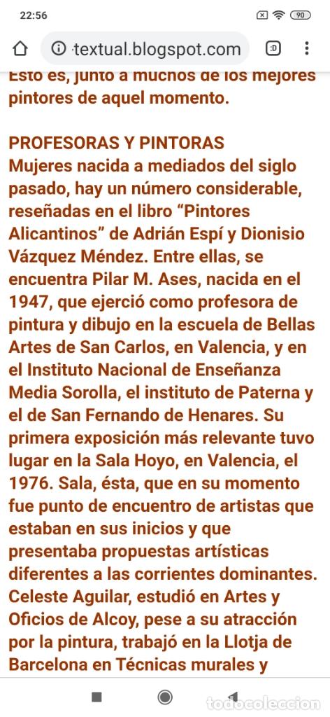 Varios objetos de Arte: OLEO ROSA PILAR ASES MARTÍNEZ RECONOCIDA PINTORA PINTOR ALICANTINA ALCOY UNICA OBRA VENTA RARA UNICO - Foto 27 - 176457447