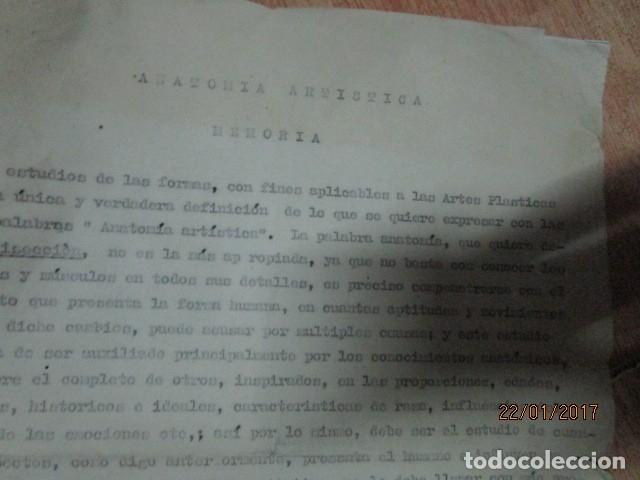 Varios objetos de Arte: manuscrito ALICANTE 1950 sobre MEMORIA anatomia artistica DIBUJOS ETC - Foto 2 - 176589177