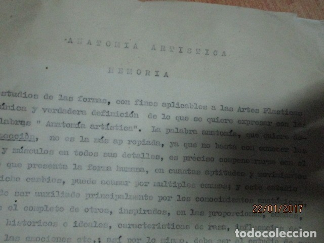 Varios objetos de Arte: manuscrito ALICANTE 1950 sobre MEMORIA anatomia artistica DIBUJOS ETC - Foto 3 - 176589177
