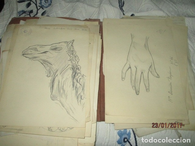 Varios objetos de Arte: ANTIGUA CARPETA CON 65 DIBUJOS ANTIGUA ACADEMIA O TALLER DE ARTE escuela trabajo de ALICANTE - Foto 13 - 176645809
