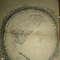 Varios objetos de Arte: BUSTO MUJER ANTIGUO DIBUJO OBRA ORIGINAL FIRMADO ILEGIBLE Y DATADO 1935 . Lote 176689840