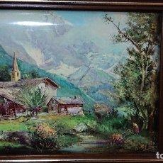 Varios objetos de Arte: PRECIOSO CUADRO PINTURA PORCELANA ESMALTADA PAISAJE DE LOS ALPES FIRMADO G C CHIABERT. Lote 177267419