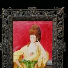 Varios objetos de Arte: ANTIGUO CAMAFEO RETRATO DAMA PINTADO A MANO CON FIRMA.. Lote 177336925