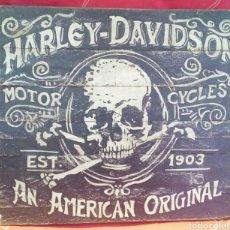Varios objetos de Arte: TABLA DE MADERA - HARLEY DAVIDSON - PINTADA A MANO - UNICA -. Lote 177382342