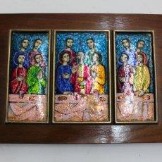 Varios objetos de Arte: ESCENA ESMALTADA DE LA SANTA CENA. ENMARCADO EN PLATA. MEDIADOS S.XX.. Lote 177581234