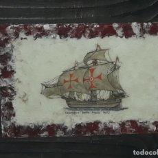 Varios objetos de Arte: BELLO CUADRO ESMALTE AL FUEGO COLUMBUS SANTA MARÍA 1492. Lote 177622710