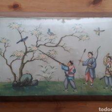 Varios objetos de Arte: CUADRO SEDA PINTADA ORIENTAL. Lote 177721749