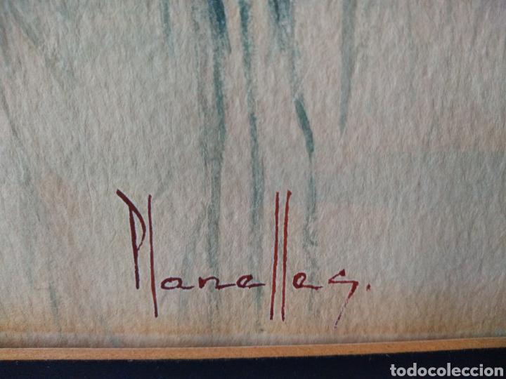 Varios objetos de Arte: CUADRO ACUARELA ( FIRMADO PLANELLES ). ANTIGUO .MAS CUADROS EN MÍ PERFIL. - Foto 5 - 177824829
