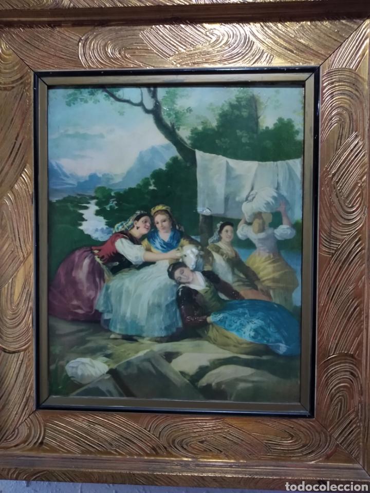 Varios objetos de Arte: ANTIGUO( CUADRO GOYESCO MUJERES LAVANDO ) PINTADO SOBRE TABLA. MÁS CUADROS ANTIGUOS EN MI PERFIL. - Foto 3 - 177942033