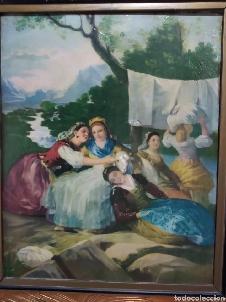 Varios objetos de Arte: ANTIGUO( CUADRO GOYESCO MUJERES LAVANDO ) PINTADO SOBRE TABLA. MÁS CUADROS ANTIGUOS EN MI PERFIL. - Foto 4 - 177942033