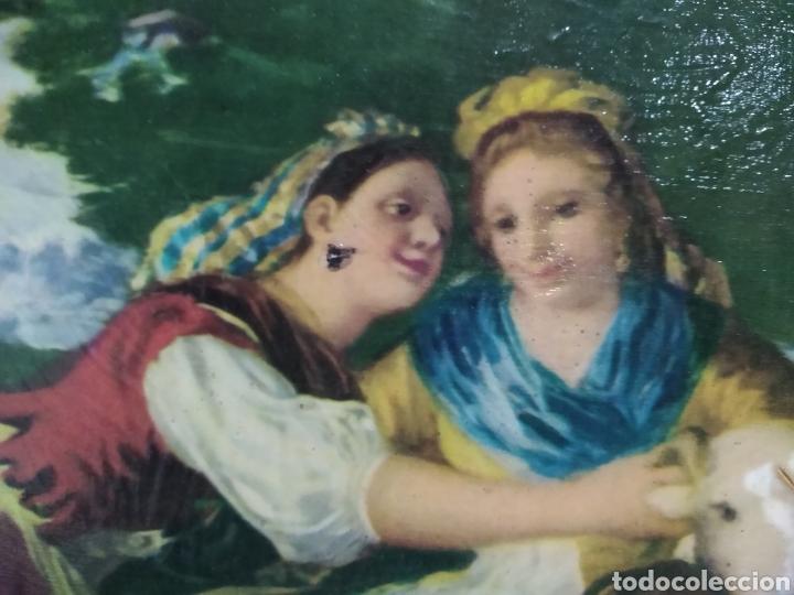 Varios objetos de Arte: ANTIGUO( CUADRO GOYESCO MUJERES LAVANDO ) PINTADO SOBRE TABLA. MÁS CUADROS ANTIGUOS EN MI PERFIL. - Foto 8 - 177942033