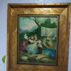 Varios objetos de Arte: ANTIGUO( CUADRO GOYESCO MUJERES LAVANDO ) PINTADO SOBRE TABLA. MÁS CUADROS ANTIGUOS EN MI PERFIL.. Lote 177942033