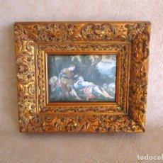 Varios objetos de Arte: PEQUEÑO CUADRO CON TAPIZ 33 CM X 28 CM MARCO TRABAJADO. Lote 178177828