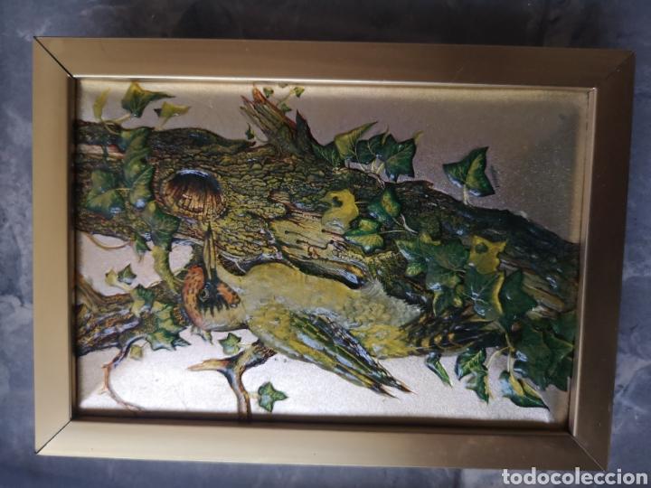 Varios objetos de Arte: decorativo cuadro, aves, relieve con marco de cristal. Enmarcado. 38x44cm - Foto 2 - 178283865