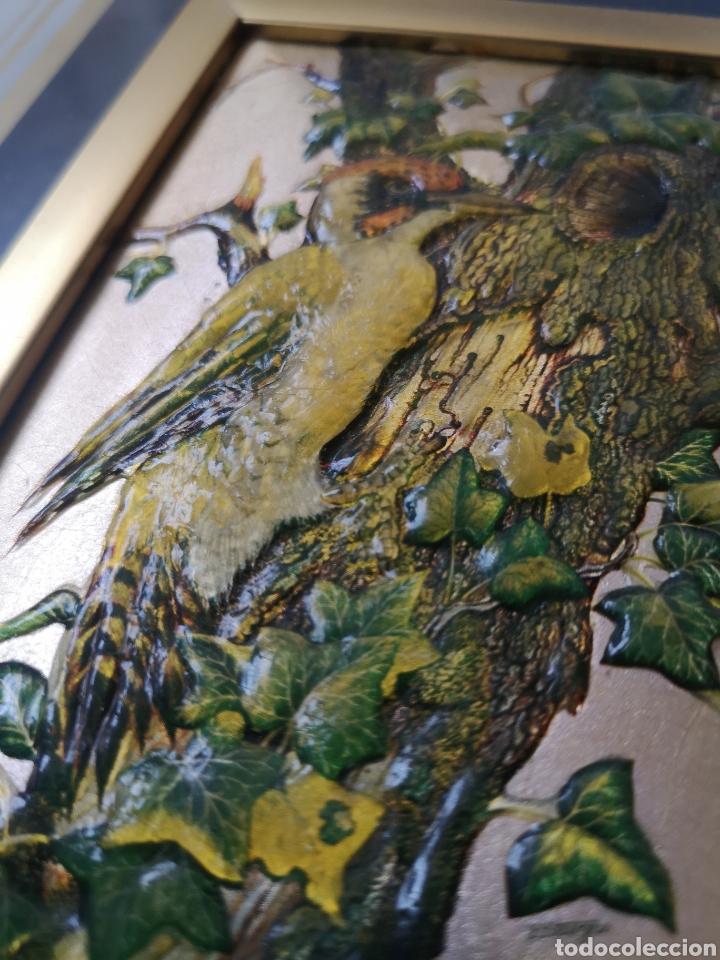 Varios objetos de Arte: decorativo cuadro, aves, relieve con marco de cristal. Enmarcado. 38x44cm - Foto 4 - 178283865