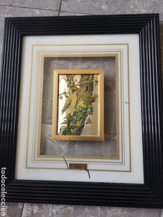 DECORATIVO CUADRO, AVES, RELIEVE CON MARCO DE CRISTAL. ENMARCADO. 38X44CM (Arte - Varios Objetos de Arte)