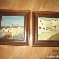 Varios objetos de Arte: ANTIGUOS OLEO PAREJA FIRMADO PARRA MOLINOS Y RINCON PUEBLO DE LA MANCHA FIRMADO PARRA. Lote 178752096