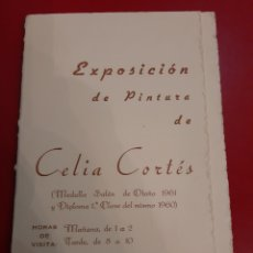 Varios objetos de Arte: 1961 EXPOSICIÓN PINTURA CELIA CORTÉS LUGO. Lote 178975607