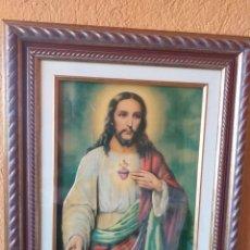 Varios objetos de Arte: BONITO CUADRO JESUS MARCO DE MADERA Y CREO QUE ES VIDRIADO. Lote 179071707