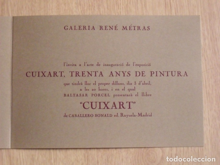 Varios objetos de Arte: Cuixart. Trenta Anys de Pintura. Díptico Galería René Metras. 1978. Buen estado. 16x23 cm. - Foto 2 - 179073965