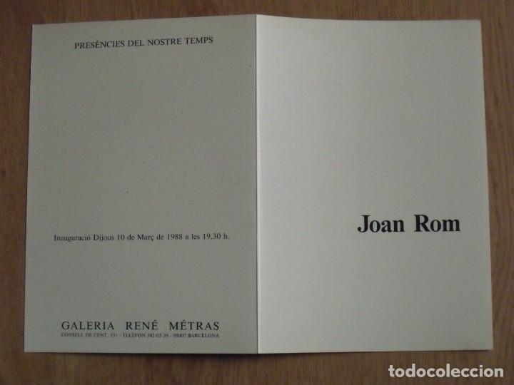Varios objetos de Arte: Joan Rom. Díptico Galería René Metras. Barcelona. 1988. Buen estado. 23x16 cm. - Foto 3 - 179074096