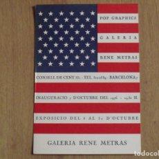 Varios objetos de Arte: POP ART GRAPHICS. FOLLETO GALERÍA RENÉ METRAS. 1976. WARHOL, RAUSCHENBERG, DINE, INDIANA, JOHNS, .. Lote 179074257