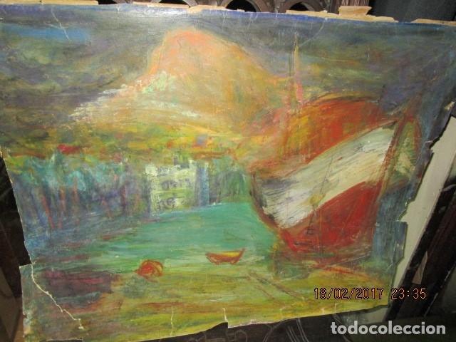 ANTIGUA PINTURA IMPRESIONISTA BARCOS EN PUERTO Y CASTILLO ALICANTE (Arte - Varios Objetos de Arte)