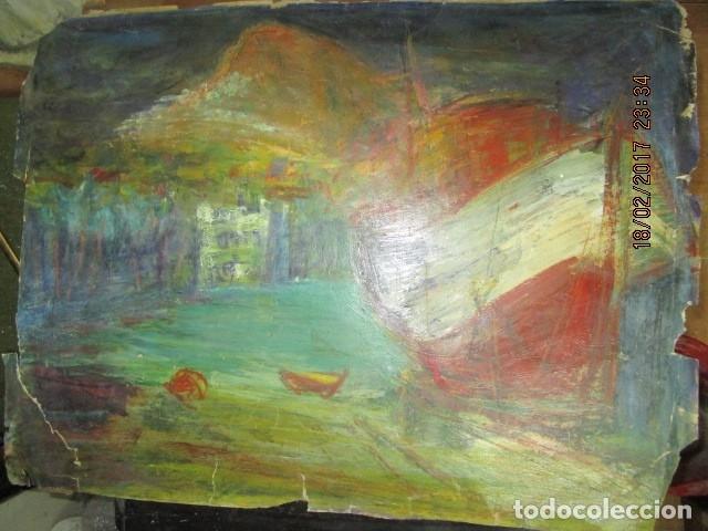 Varios objetos de Arte: ANTIGUA PINTURA IMPRESIONISTA BARCOS EN PUERTO Y CASTILLO ALICANTE - Foto 2 - 179104286
