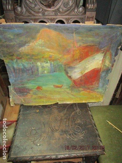 Varios objetos de Arte: ANTIGUA PINTURA IMPRESIONISTA BARCOS EN PUERTO Y CASTILLO ALICANTE - Foto 5 - 179104286