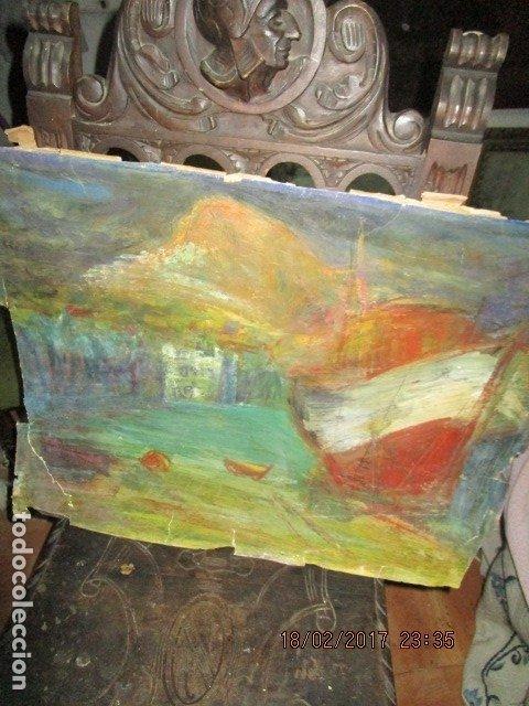 Varios objetos de Arte: ANTIGUA PINTURA IMPRESIONISTA BARCOS EN PUERTO Y CASTILLO ALICANTE - Foto 7 - 179104286
